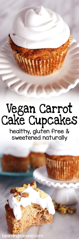 Vegan Carrot Cake Cupcakes Beaming Banana