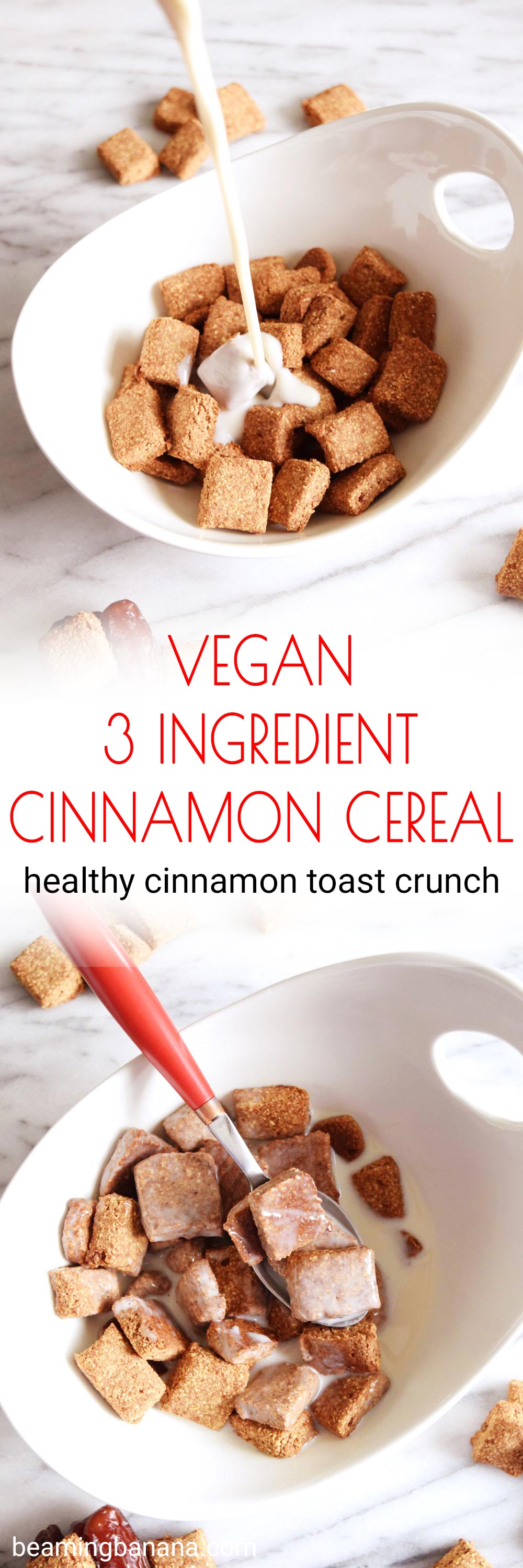 Vegan 3 Ingredient Cinnamon Cereal Beaming Banana